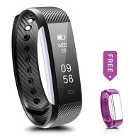 Fitness Tracker, Ronten R2 Smart Bluetooth Wristband Pedometer Smart Bracelet Sleep Monitor, Waterproof Activity TrackerWatch with Replacement Band for Android &IOS (Black+Purple(band))