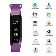 Fitness Tracker, B2Future Bluetooth 4.0 Fitness Tracker Watch, Blood Pressure Heart Rate Monitor Sleep Monitor Calorie Counter Pedometer Activity Tracker for Android and IOS Devices (Purple, 0.86)