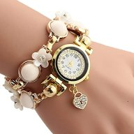 Cokoo Fashion Style Pearl Chain Bracelet Women's Fashion Wrap Wrist Watch White