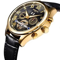 BINSSAW Men's Tourbillon Automatic Mechanical Watch Fashion Casual Golden Luxury Brand Man Leather Calendar Week Black Fashion Watches Table Gift Wristwatch