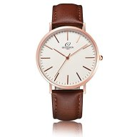BESSERON Casual Mens Watch Quartz Movement Watch with vintage Leather Strap