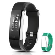 Fitness Tracker, Ronten R2 Plus Heart Rate Monitor Waterproof Activity Tracker, Bluetooth Wireless Smart Bracelet with Replacement Strap for Android and IOS Smartphones (black+teal(band))