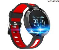 X-CHENG Fitness Tracker- Activity Monitor and Sleeping Management – Heart rate monitor Blood pressure Tracker Pedometer with IP67 Waterproof OLED Touch Screen – for Android and iOS (black/red)