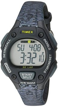 Timex Women's Ironman 30-Lap Digital Quartz Mid-Size Watch, Black/Gray Texture – TW5M077009J