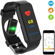 Fitness Tracker Watch, Health Activity Tracker Sports Watch, Smart Wristband Bracelet Band – Heart Rate Monitor, Pedometer, Calorie, Waterproof, Colorful Touch Screen, Black