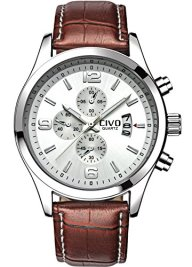 CIVO Men's White Decorative Dial Luxury Brown Leather Band Waterproof Simple Wrist Watch Business Casual
