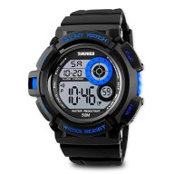Aposon Mens Sport Running Watch, Digital Electronic 50M Waterproof Military Army Sports LED Wristwatch Water Resistant with Stopwatch Unique Dial 7 Color Changeable Backlight – Blue