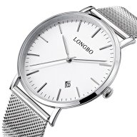 Fanmis Mens Luxury Wristwatch Silver Mesh Stainless Steel Ultra-thin White Dial Waterproof Calendar Quartz Watch