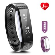 Fitness Tracker, Ronten R2-HR Heart Rate Activity Wristband Waterproof Bluetooth Smart Bracelet,Wireless Touch Screen Fitness Watch with Replacement Band for Android & IOS (Black+purple(strap))