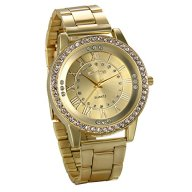 JewelryWe Luxury Mens Dress Watch, Stainless Steel Bling Rhinestones Accented Quartz Wrist Watches – Gold