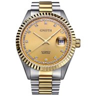 GNOTH Gold Luxury Date Japanese Business Mechanical Watch with Stainless Steel Band Wrist Watch for Men