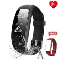 Fitness Tracker, Ronten R7 Plus Activity Tracker With Heart Rate Monitor, Waterproof Fitness Watch, Wireless Bluetooth Smart Bracelet with Replacement Strap for Android & IOS (Black+Red(strap))