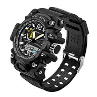 Smalody Men Watches Dual Movement Sports Casual LED Digital Watch Waterproof Quartz Analog Military Wristwatch (Black)