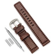 CIVO 20mm Handmade Genuine Leather Watch Bands Luxury Italy Calf Leather Watch Strap Dark Brown