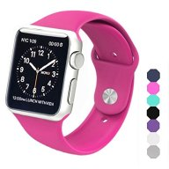 Sxciw Apple Watch Band, Soft Silicone Sports Replacement Wristband for Apple Watch (Barbie pink, 42mm-S/M)