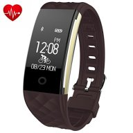 Fitness Tracker,Juboury Heart Rate Activity Trakcer Touch Screen Wearable Pedometer Bluetooth Smart Wristand with Sleep Monitor,Steps Counter,Calories Track for Android and IOS Smart Phones (Coffee)