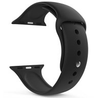 Yimzen Soft Silicone Sport iWatch Band Strap for Apple Watch Series 3 2 1 Sport & Edition 38mm M/L Black