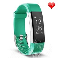 Fitness Tracker, Waterproof Activity Tracker Heart Rate Monitor Bluetooth Smart Watch Bracelet Wristband Sleep Monitor Pedometer with Replacement Strap for Android and IOS Smartphone (black-green)
