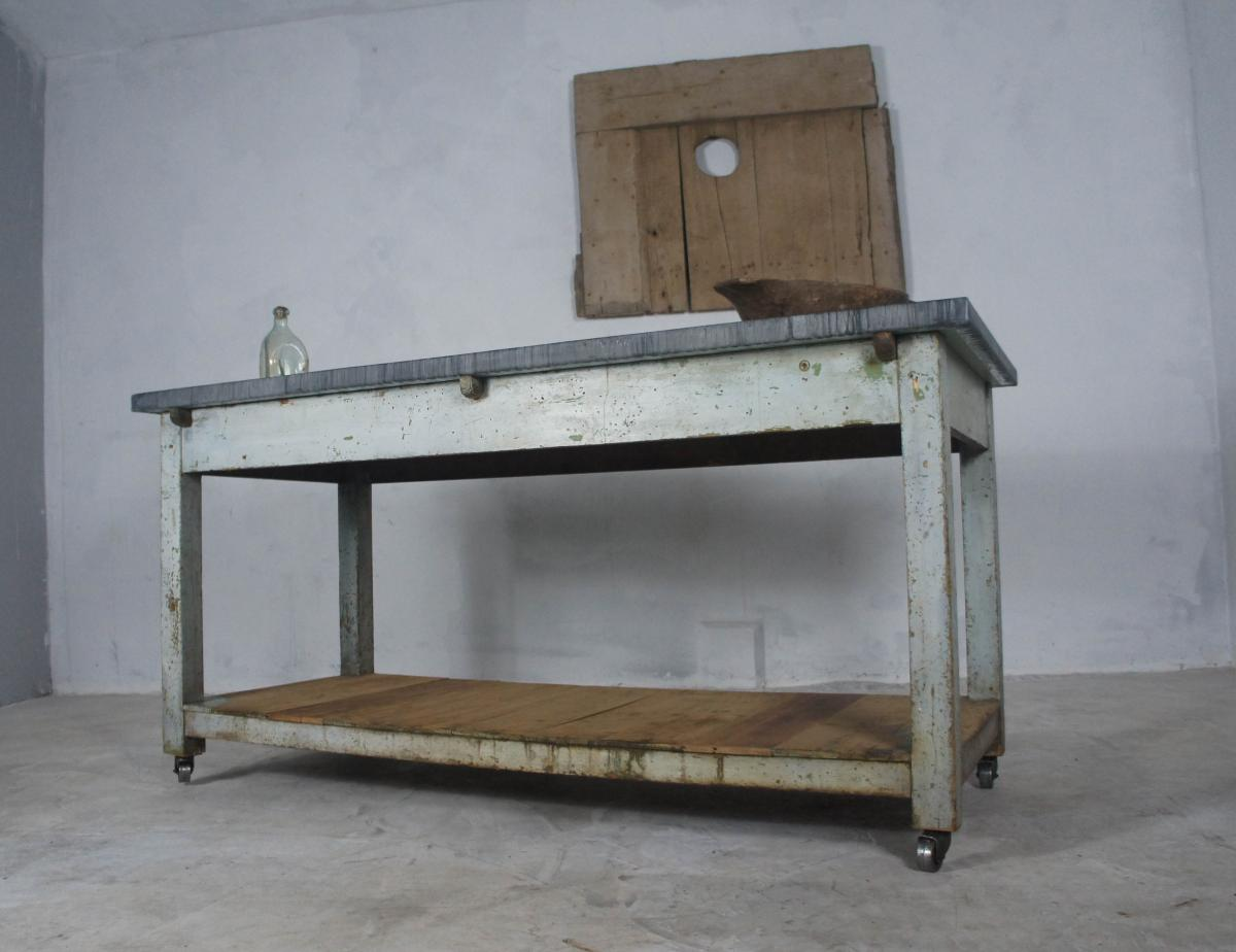Kitchen Island With Locking Casters French Table Sideboard Or Kitchen Island With Zinc Top On