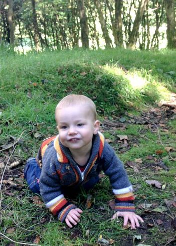toddler in the woods