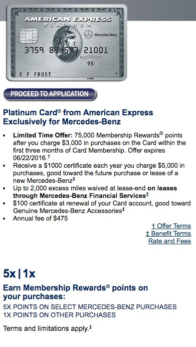 Last day earn 75 000 bonus points with mercedes benz for Mercedes benz american express platinum