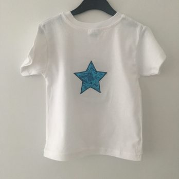 Custom t-shirt. White with Stereo print applique