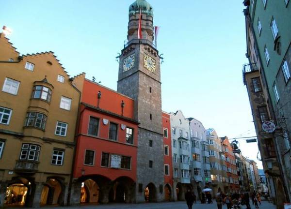 The tower in Innsbruck, Austria gives a romantic feeling to the old town.