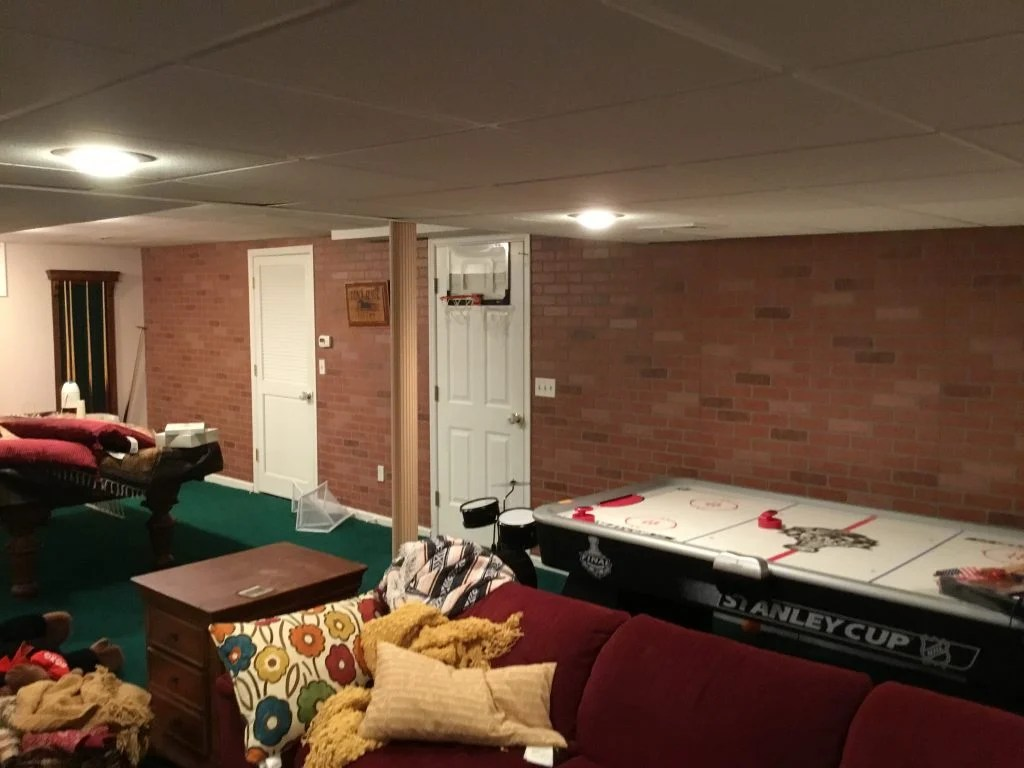 Faux Brick Interior Wall Faux Brick Panels Added To Basement Monk S Home Improvements In Nj