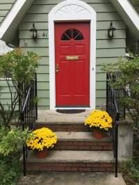 New Red Front Door Says Welcome - Monk's Home Improvements
