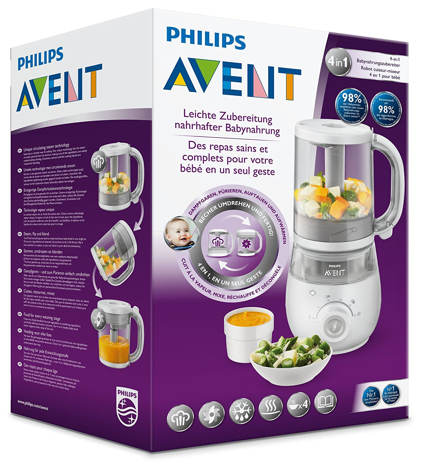 Amazon Dampfgarer Philips Avent Baby Food Steamer Blender Scf875 02 Monmartt