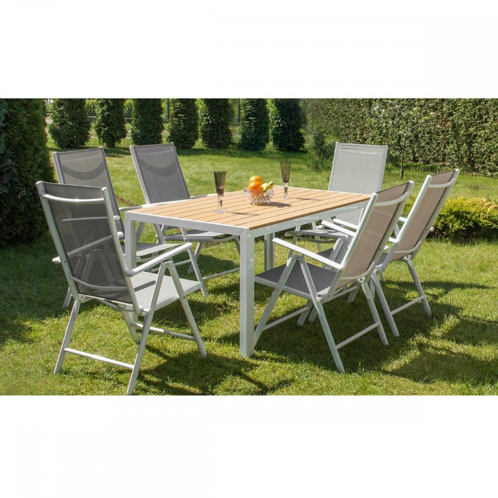 Alice\'s Garden Salon De Jardin Aluminium Table 180cm, 8 Fauteuils En  Textilène Gris Et Alu Anth