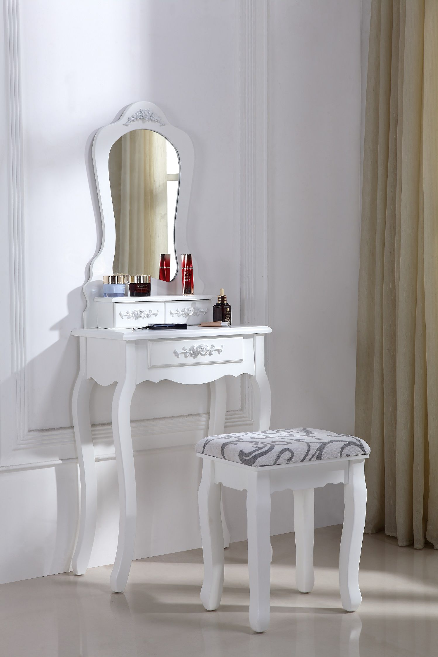 Coiffeuse Meuble Cdiscount Superbe Coiffeuse Table De Maquillage Style Baroqu Achat
