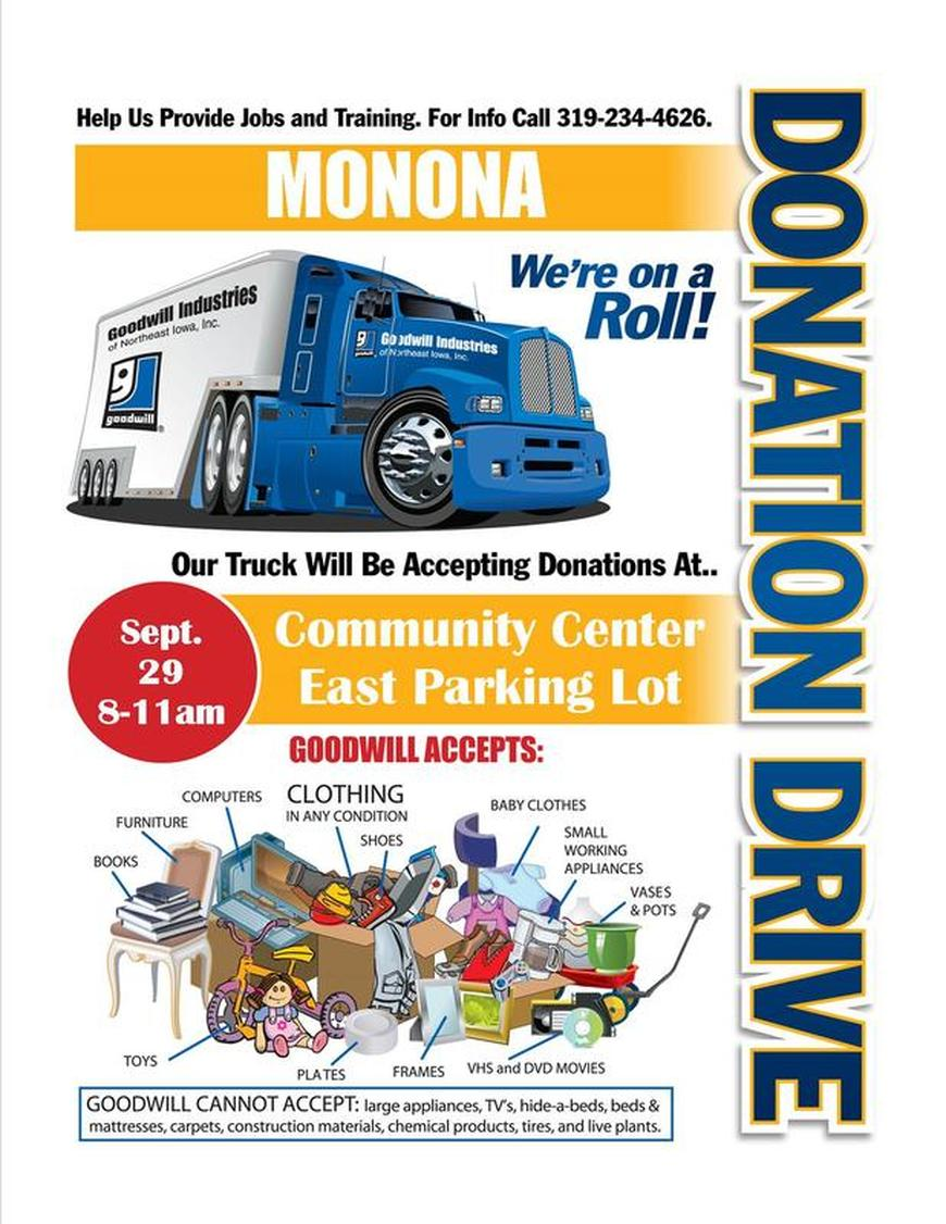 Garage Clothing Jobs 9 29 18 Manned Fall Goodwill Donations Truck Monona Chamber