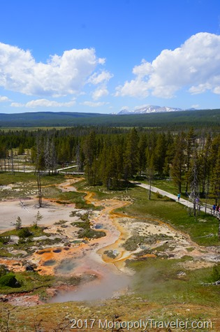 Hydrothermal features in the lower geyser basin of Yellowstone