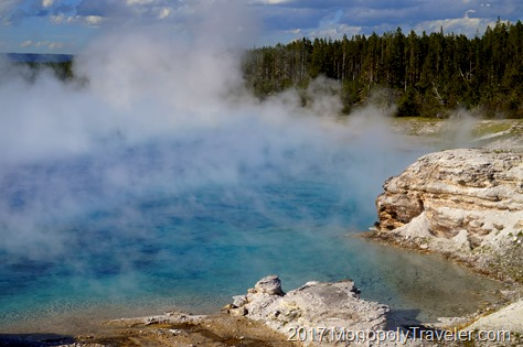 Hot springs constantly produce steam even in the middle of summer