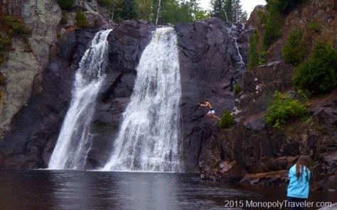 Jumping into the Baptism River at High Falls