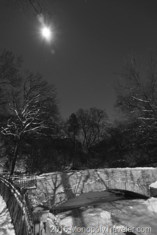 A cold winter night as the full moon showers the ice and snow with abundant light
