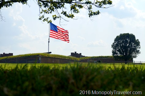 Watching the flag flying in the wind high over Fort McHenry