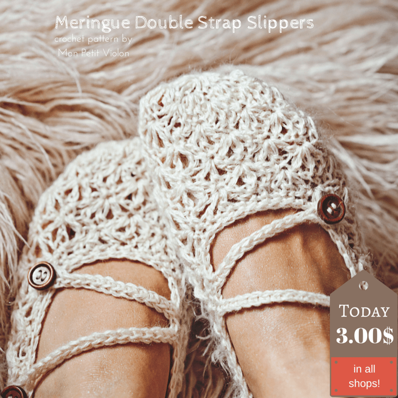 It is time to crochet Meringue Double Strap Slippers !