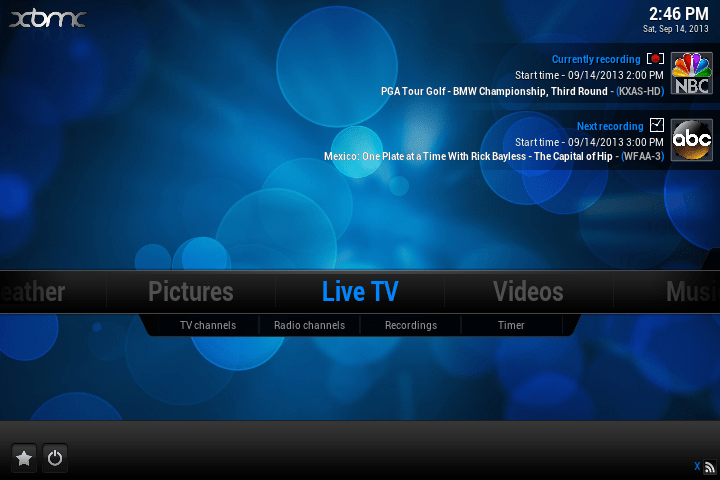 The XBMC Main Menu showing some DVR events for Live HDTV