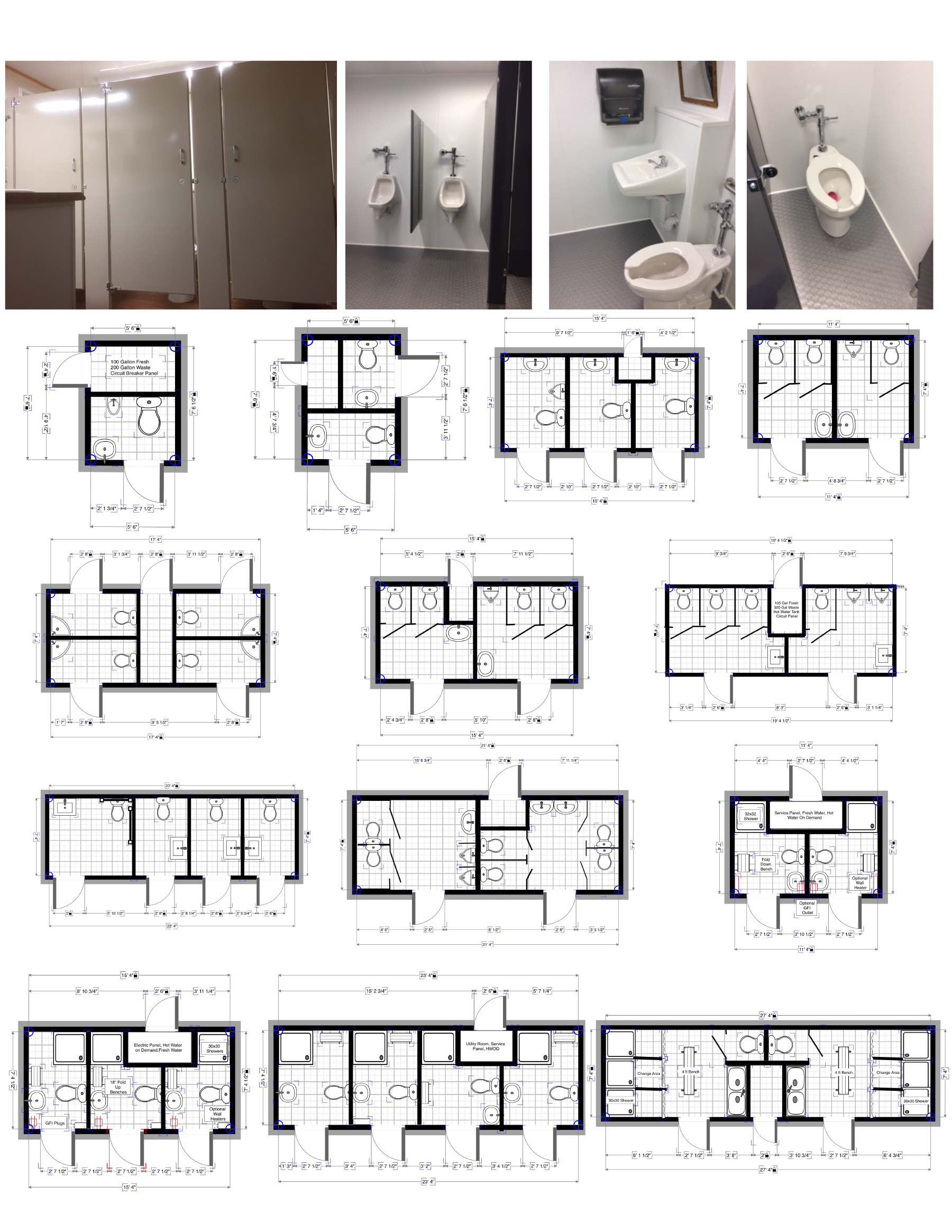 Portable restroom trailers for sale portable bathroom for Commercial bathroom floor plans