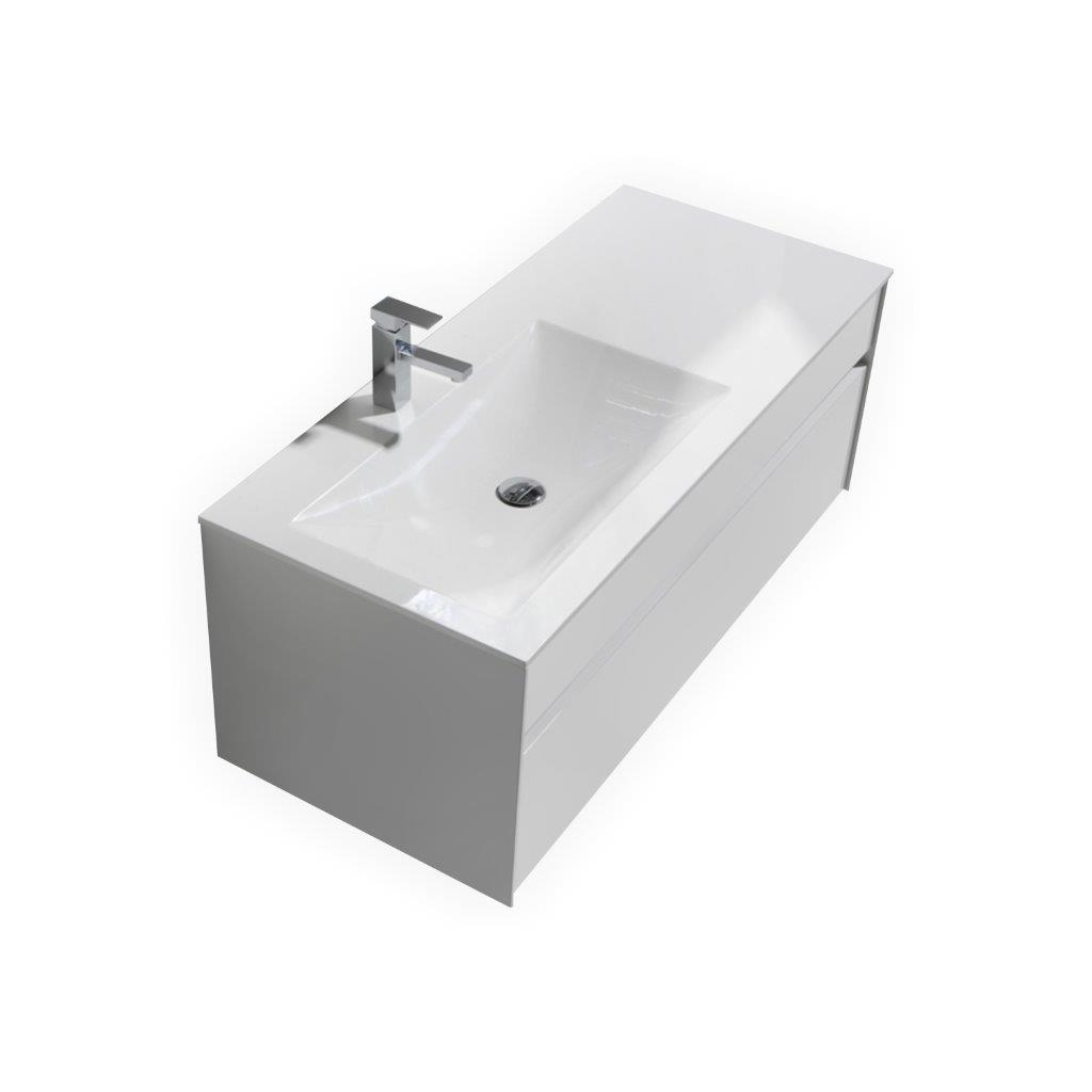 Fitto 48 quot high gloss white wall mount modern bathroom vanity