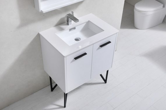 Forest 30quot High Gloss White Vanity W Quartz Countertop