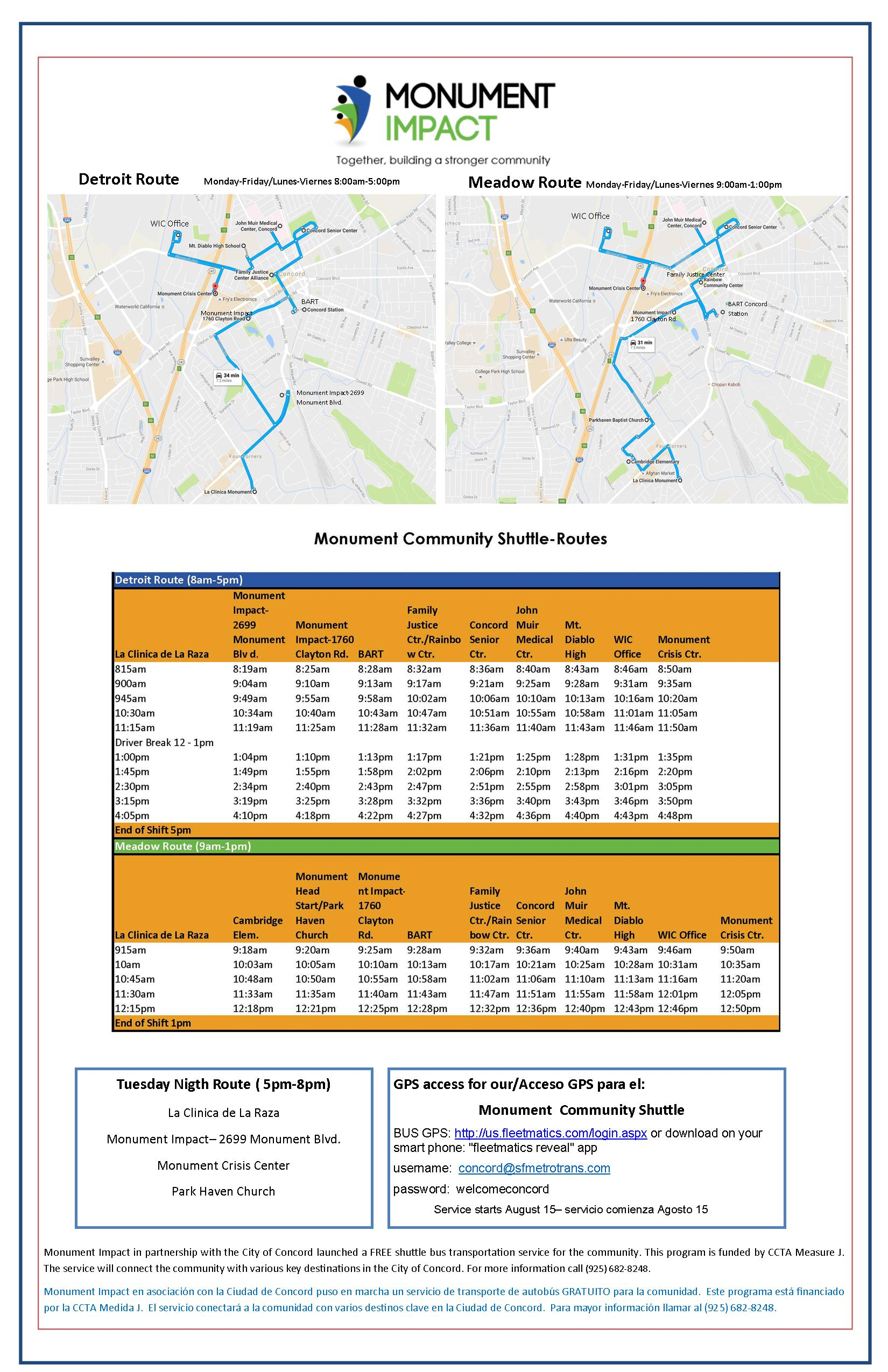 POSTER_Shuttle Project MAPS _SCHEDULES Aug 4 2016