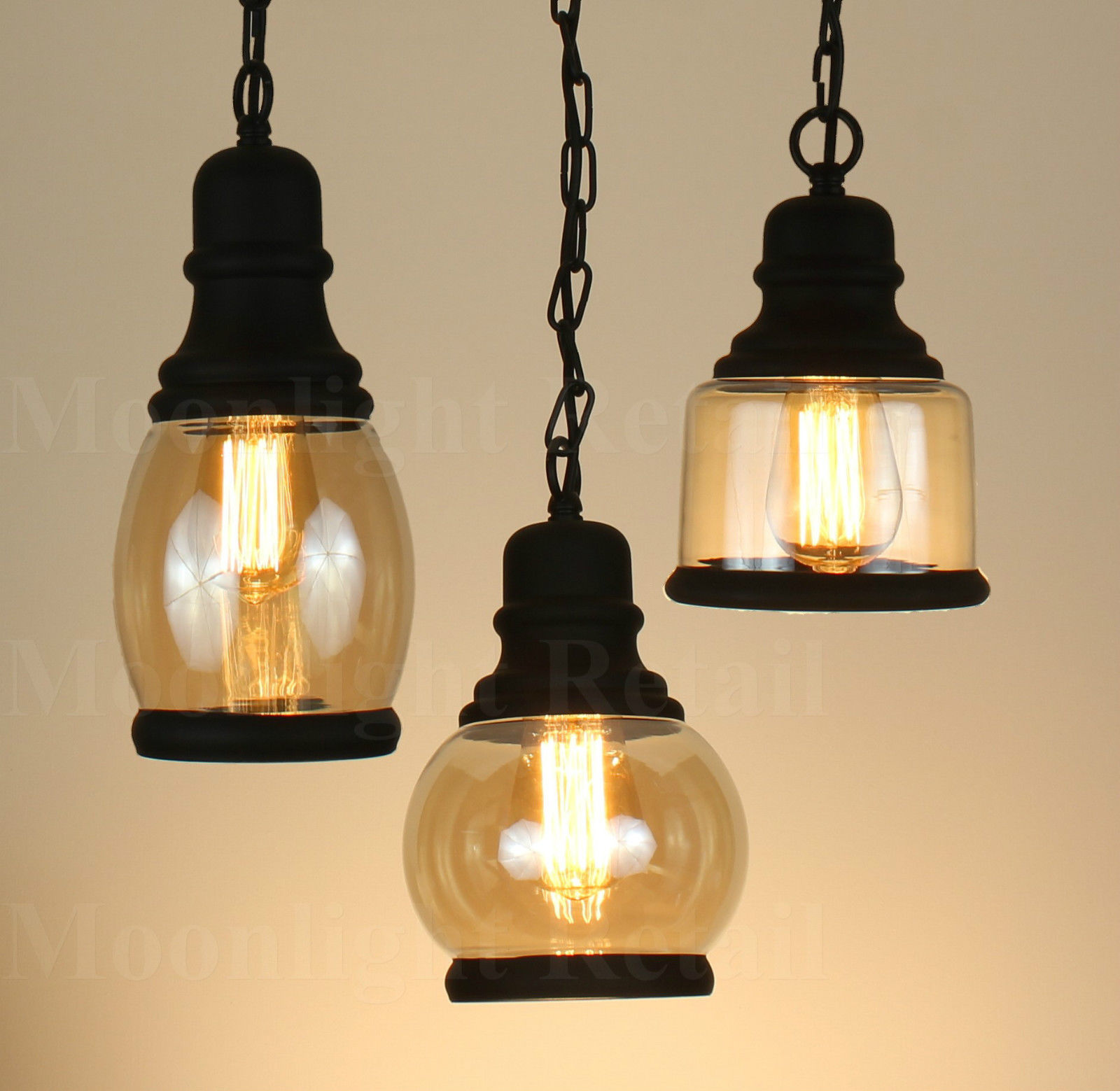 Industrial Vintage New Vintage Industrial Retro Loft Smoked Glass Shade Pendant Light With Chain