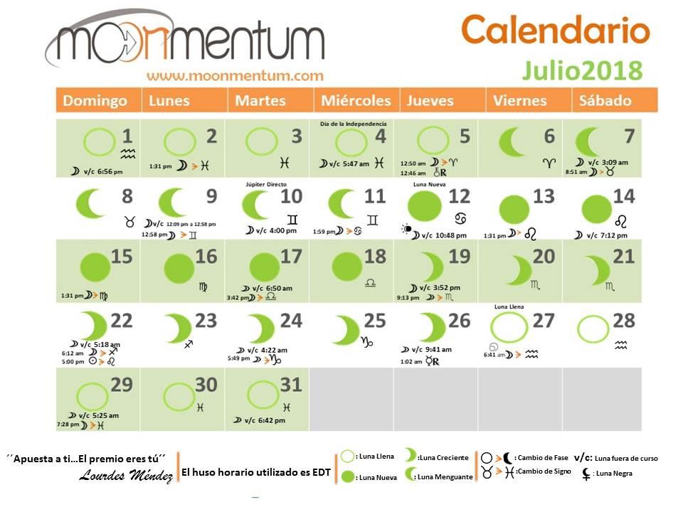 Calendario Julio 2018 - Moonmentum