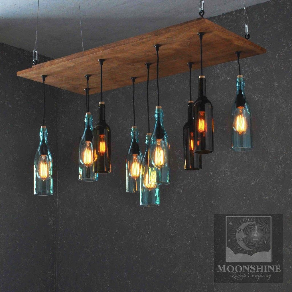 Kronleuchter Flaschen The Napa Birchwood Recycled Glass Wine Bottle Chandelier