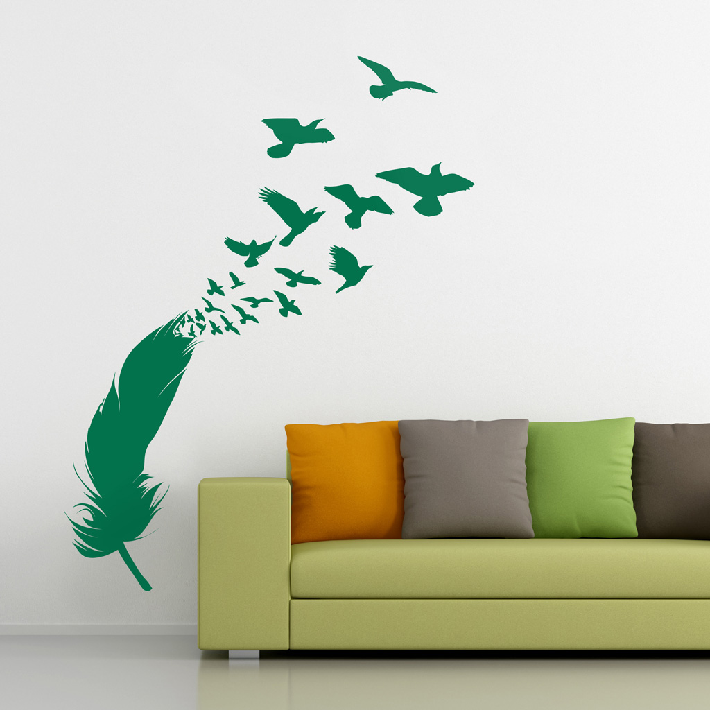 Feather And Birds Sticker Moonwallstickers Com