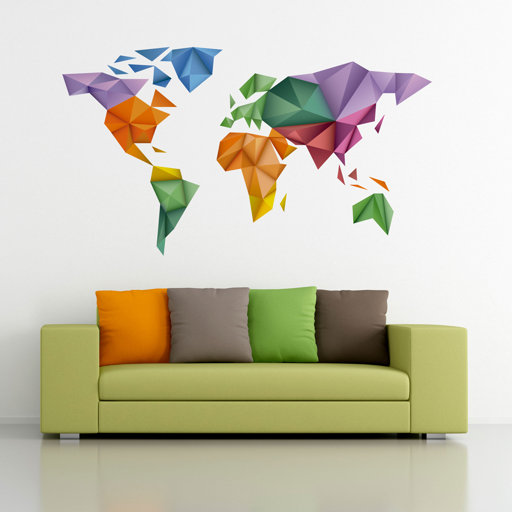 Origami Colored World Map Sticker Moonwallstickers Com