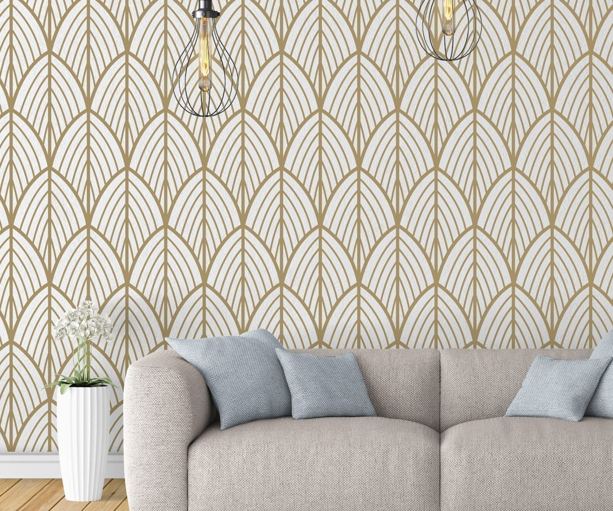 Papier Peint Wall And Deco Art Deco Leaves Removable Wallpaper Moonwallstickers